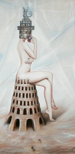 Ela Nowak, Turm, Fantasy, Erotic motifs: Female nudes, Post-Surrealism, Abstract Expressionism