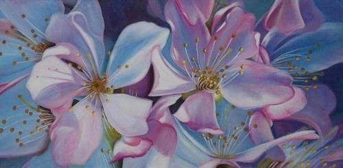 Ela Nowak, /Kirschblüten, Plants: Flowers, Decorative Art, Photo-Realism, Expressionism