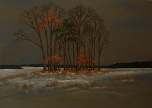 Birgit Schnapp, der erste Schnee, Landscapes: Autumn, Plants: Trees, Neo-Impressionism, Expressionism