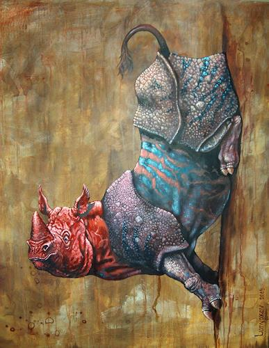 Sascha Lunyakov, Super Rhino, Miscellaneous Animals, Fantasy, Abstract Expressionism