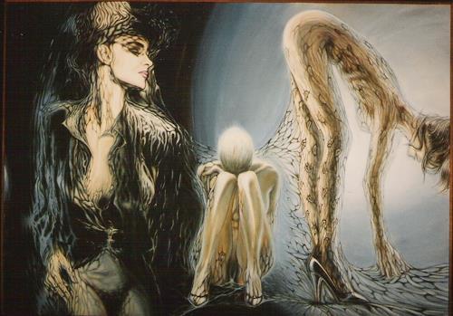 Peter Sänger, Drei Frauen im Netz, Erotic motifs: Female nudes, Abstract Expressionism