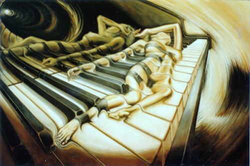 Peter Sänger, Das Klavier, Erotic motifs: Female nudes, Expressionism