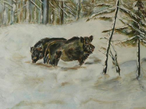 ALBERTO, Sauen im Schnee, Hunting, Naturalism