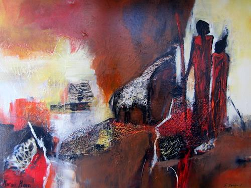 Silvia Sailer, Afrika,Masai Mara, People: Couples, Landscapes: Tropics, Modern Age, Abstract Expressionism