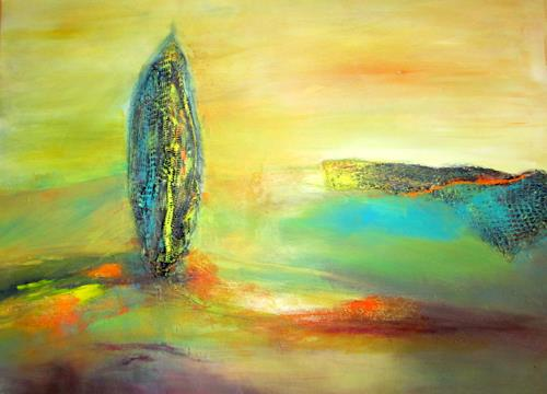 Silvia Sailer, Zypresse II, Plants: Trees, Landscapes: Hills, Contemporary Art, Expressionism
