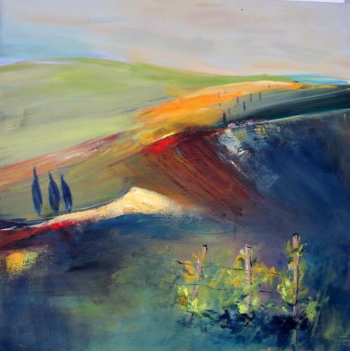 Silvia Sailer, Südsteirische Impressionen I, Landscapes: Autumn, Landscapes: Hills, Contemporary Art, Expressionism