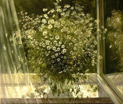 Alexander Jen, Kamillenstrauss, Plants: Flowers, Impressionism, Expressionism