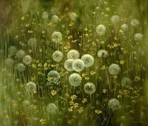 Alexander Jen, Pusteblumen, Plants: Flowers, Impressionism, Modern Age