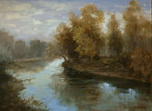 Alexander Jen, Morning on the River, Miscellaneous Landscapes, Impressionism, Expressionism