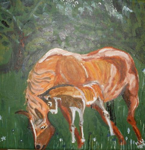 Marija Weiss, Dr., Stute mit Folen, Animals: Land, Emotions, Contemporary Art