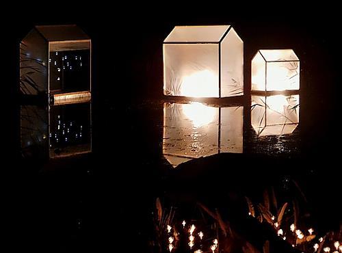 BERTOLOMEOS, Lichtklangnacht mit schwimmenden Licht(Klang)Häusern, Landscapes, Nature, Land-Art, Abstract Expressionism
