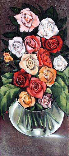 Ira Tsantekidou, Roses for Lempicka, 90x40, Still life, Plants: Flowers
