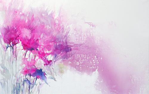 Ira Tsantekidou, Composition with Flowers, Summer, 120x190, Plants: Flowers, Art Déco, Expressionism