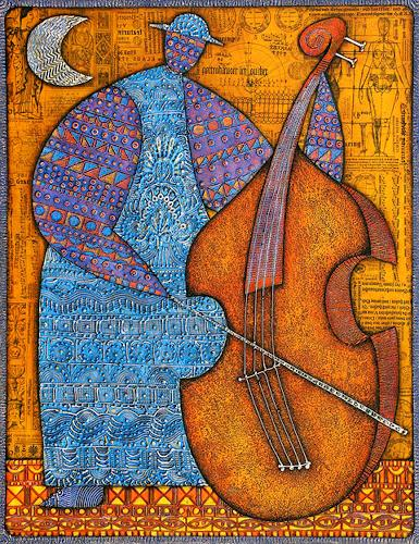 Wlad Safronow, Contrebasse, 90x70, Music: Instruments, People: Men, Expressionism