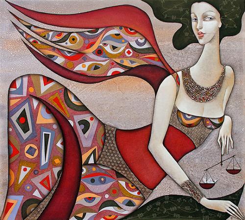 Wlad Safronow, Engel des Schicksals, 90x100, People: Women, Mythology, Expressionism