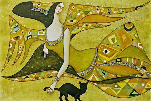 Wlad Safronow, Engel des Frühlings, 80x120, Symbol, Emotions: Joy, Art Nouveau, Expressionism