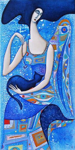 Wlad Safronow, Engel mit Katze (blau), 80x40, Mythology, Situations, Art Nouveau, Expressionism