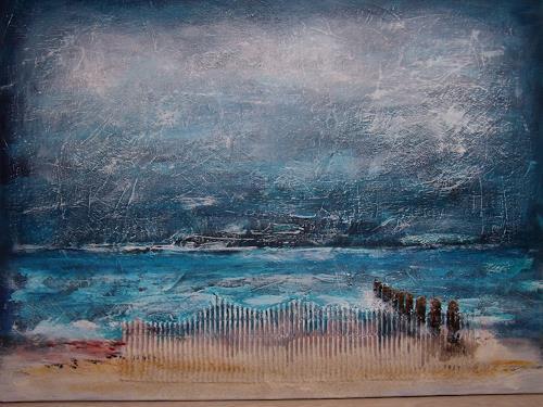 Sigrun Laue, Strand mit Buhnen, Landscapes: Beaches