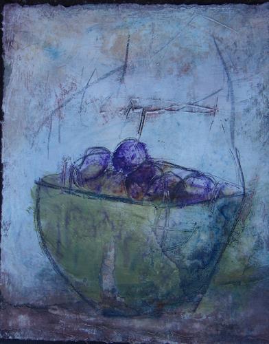 Sigrun Laue, Schale mit Pflaumen, Still life, Abstract Art, Expressionism