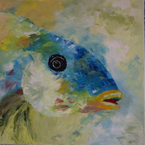 Sigrun Laue, Fisch blau, Animals: Water, Abstract Art