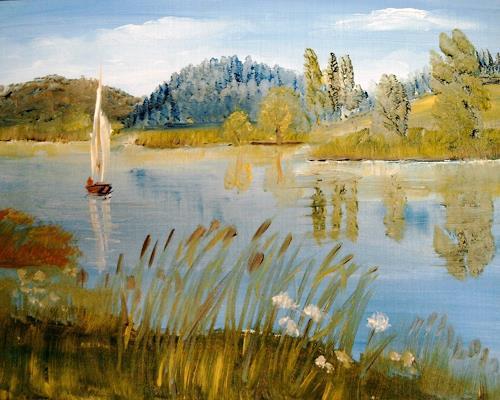 Susanne Köttgen, See in Vorpommern, Landscapes: Sea/Ocean, Nature: Wood, Realism, Expressionism