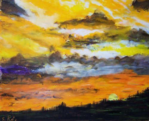 Susanne Köttgen, Sonnenuntergang, Miscellaneous Landscapes, Modern Age, Expressionism