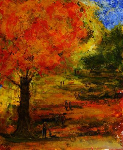Susanne Köttgen, Herbstspaziergang, Landscapes: Plains, People: Group, Contemporary Art, Expressionism