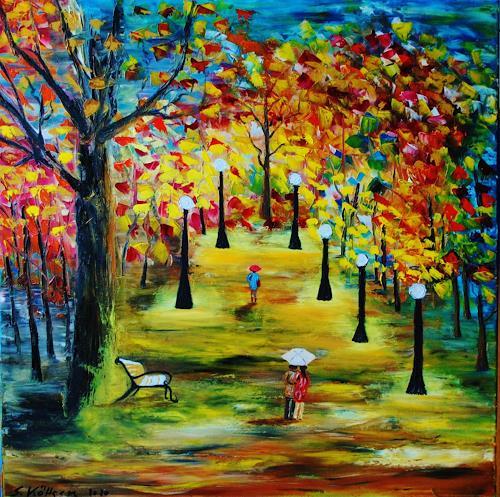 Susanne Köttgen, Herbstlandschaft, Landscapes: Autumn, Emotions: Joy, Abstract Expressionism
