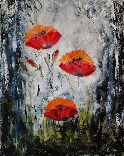 Susanne Köttgen, Schwarz - Weiß trifft Farbe / Serie, Plants: Flowers, Landscapes: Summer, Abstract Expressionism, Expressionism