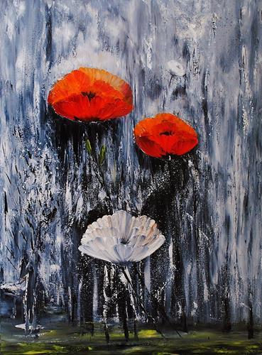 Susanne Köttgen, Schwarz / Weiß trifft Farbe / Serie, Plants: Flowers, Emotions: Joy, Abstract Expressionism