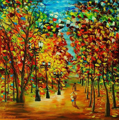 Susanne Köttgen, Herbstlandschaft / Serie, Landscapes: Autumn, Nature: Wood, Abstract Expressionism, Expressionism