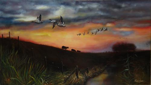 Roland Raabe, Schlafdeich am Dollart, Landscapes: Plains, Times: Autumn, Expressionism