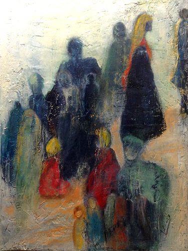 Isabel Zampino, Menschen, die meinen Weg kreuzen, People: Group, Society, Contemporary Art, Expressionism