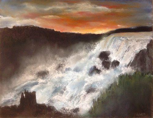 Isabel Zampino, Wassermassen II, Nature: Water, Romantic motifs: Sunset, Contemporary Art, Expressionism