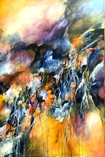 Isabel Zampino, Im Orchideengarten, Plants: Flowers, Nature: Miscellaneous, Contemporary Art, Abstract Expressionism