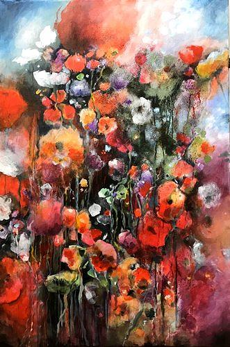 Isabel Zampino, Sommergarten, Plants: Flowers, Times: Summer, Contemporary Art, Expressionism
