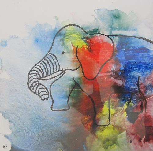 Els Driesen, olifant 4, Abstract art, Animals: Land, Abstract Art