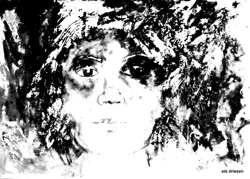 Els Driesen, black and white, People: Portraits, Fantasy, Modern Age, Abstract Expressionism
