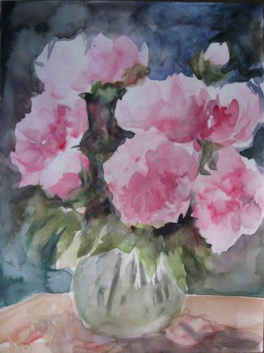 Els Driesen, pioenrozen in vaas 2013, Plants: Flowers, Miscellaneous Plants, Expressionism
