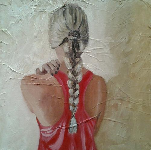 Els Driesen, meisje met vlecht, People: Women, Miscellaneous People, Realism, Expressionism