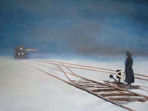 Doris Jordi, Weichenwärter in Sibirien, People: Men, Landscapes: Winter, Expressionism