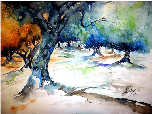 flowart, Olivenhain, Nature: Wood, Modern Age, Expressionism