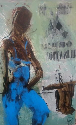 Rolf Becker, Dame in Blau, People, Abstract Expressionism